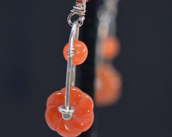 Carnelian Orange Dangle Earrings, Silver Earrings, Carved Flower Earrings
