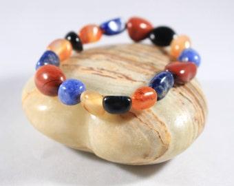 Red Jasper Lapis Lazuli Carnelian Onyx Handmade Tumbled Stone Healing Crystal Bracelet