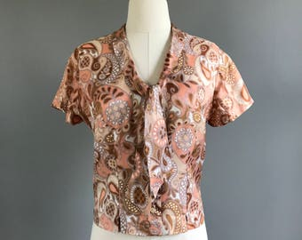 Vintage 1960's paisley tie neck button down