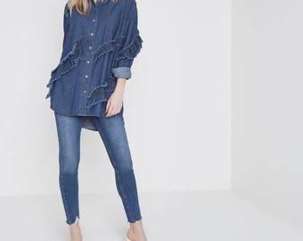 Frill and frayed trim denim shirt
