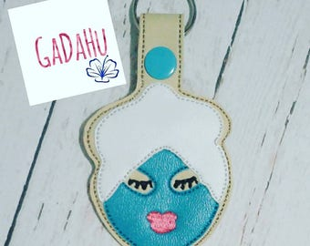 Spa Girl Key Fob Snap Tab Embroidery Design 4X4 size