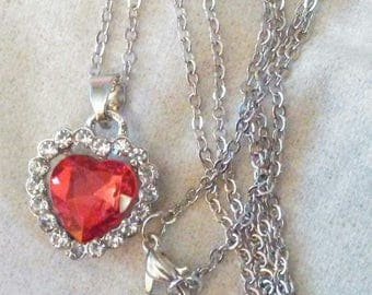 Rhinestone red heart necklace with 18 in chain