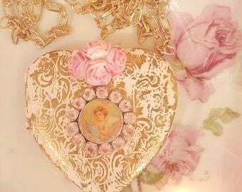 Vintage Shabby Chic Pink Metal Locket Romantic Cherub Valentine Necklace Adore Valentine Gift Romantic Jewelry Vintage Cupid Cherub