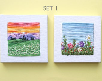 Embroidered Sets | Wall Art | Handmade | Home Decor | Embroidery Gift | Landscape | Minimalism | Tiny Art | Textile Artwork| Hand Embroidery