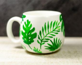 Tropical Mug, Palm Leaves Personalized Mug, School supplies, Ceramic Coffee Cup, Hand Painted Mug