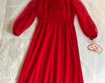 Vintage Red Long Chiffon Sleeves Empire Waist Maxi Dress Gown Deadstock Union Made