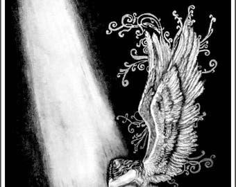 "Fantasy Graphite Drawing Print - "" Angel of Hope"" - Fantasy - Angel - Art & Illustration - Quality Matte Finish Photo Print"