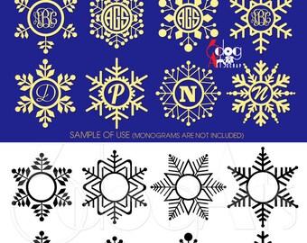 Snowflake Monogram Frames Digital Cut Files SVG DXF Vector Printable Download Vinyl Iron On Heat Press Transfer Silhouette Cricut JB-616
