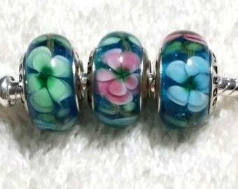 3D Flower Murano Pandora Glass Bead (1) Bead Only