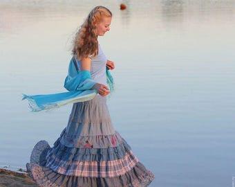 Maxi linen skirt Pearl water