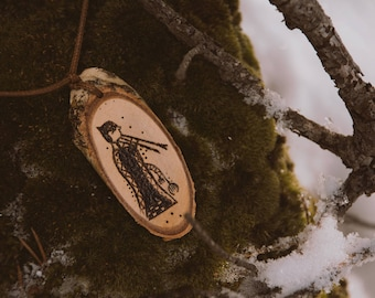 Iberian woman playing flute, wood burned pendant, pirography, iberian pottery, wood burning necklace, wooden pendant.