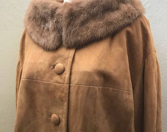 Vintage 1960s Tan Suede Coat with Mink Collar