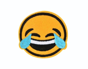 Emoji Patch Laughing Iron On Patches - Embroidery Applique Happy Patch - Smiley Patch Laugh - Fun Patches - Cute Patches - Emoticon Patches
