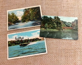 Vintage 1920s 30s Upstate New York Colorized Photograph Postcards