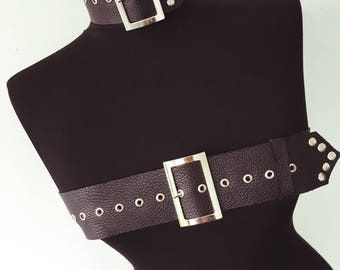 Leather Chest Belt with Choker | Black Leather | Leather Harness | Body Harness | Chest Harness | Leather Top | Leather Belt | Harness Bra