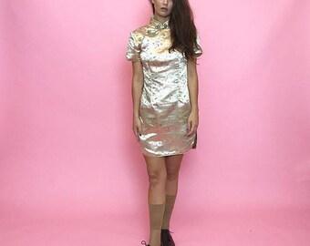 Cheongsam mini dress in champagne satin S-M
