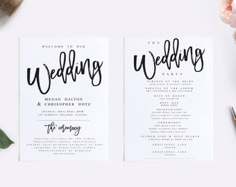 Rustic Wedding Program Template Modern Wedding Program Template Rustic Wedding Program Wedding Program Printable Wedding Ceremony Template