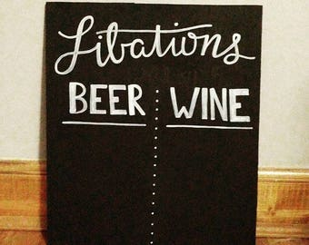 Libations Bar Menu Sign