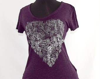 heathered purple tee with sketchy heart