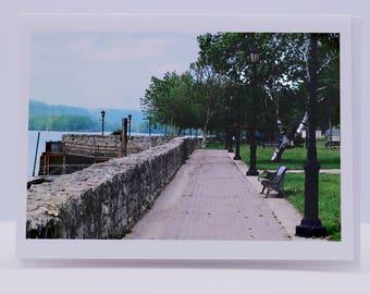 Blank Greeting Card: River Walk, Mississippi River, St. Feriole Island, Prairie du Chien, Wisconsin