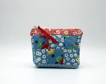 Blue and Red Patchwork Quilted Cosmetic Bag