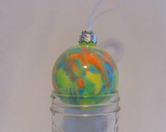 Acrylic Pour Glass Ornament- Multi-colored