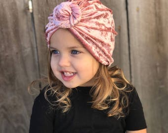 Pink Crushed Velvet Turban