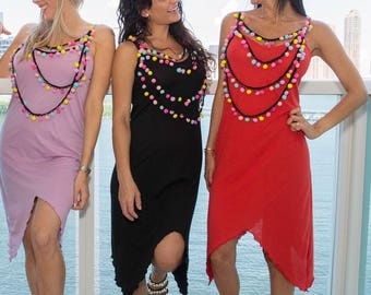 Organic pom pom necklace dress