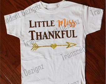 Little Miss Thankful Kids Thanksgiving Shirt, Kids Thanksgiving Shirt, Kids Holiday Shirt