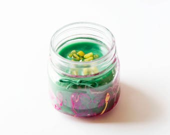 Coconut Lime Verbena Candle (8 Oz.) - Hand Poured Candle - Unique Candle - Mason Jar Candle - Painted Candle - Coconut - Lime - Candles