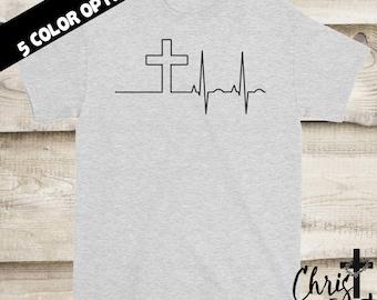 Cross Shirt, Heartbeat Shirt, Christian Shirts, Religious Gift, Inspirational Gift, Christian Clothing, Religious Shirts, Christian Gift