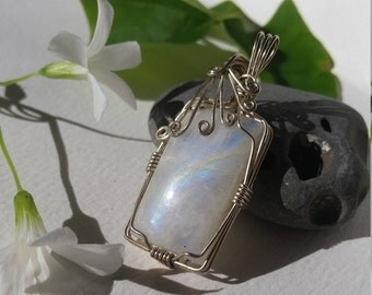 Wire Wrapped Square Rainbow Moonstone Pendant
