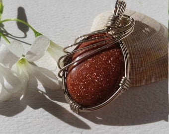 Wire Wrapped Oval Goldstone Gold Stone Pendant