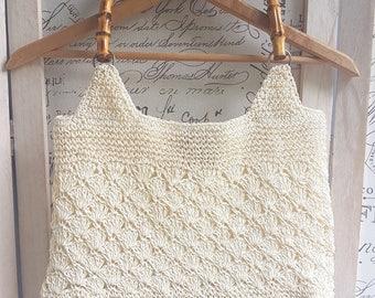Boho purse, vintage cream handmade straw purse with bamboo handle, straw handbag, vintage straw bag