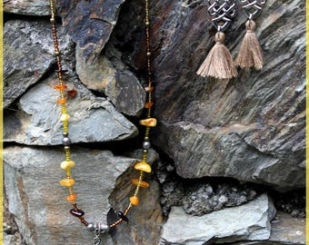 "Finery ""Tibetan amber"" necklace and earrings"