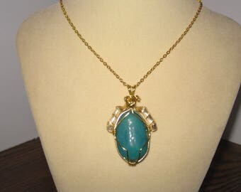 Beach glass wire wrapped necklace 21 inch chain