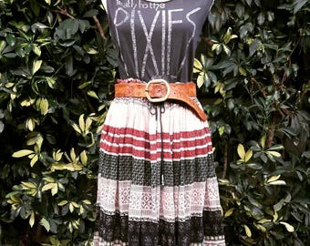 Vintage sheer cotton Indian block print skirt size small to large. (Free size) drawstring waist with bells