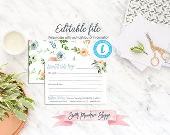 Printable Oil Recipe Cards, Floral Essential Oil Recipe Card, Recipes for Essential Oils, Editable Card Template, Templett, Instant Download