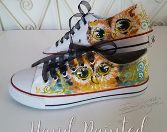 Owl Sneakers, Hand Painted Shoes, Owls Footwear, Animal Sneakers, Owl Art, Handpainted Sneakers, Owl Shoes Art, Owl Art, Painted Owl Shoes