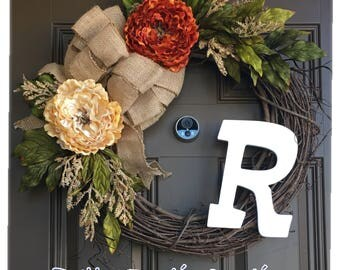 Everyday peony wreath with monogram for front door - year round wreath with initital - front door wreath with  burlap bow - farmhouse wreath