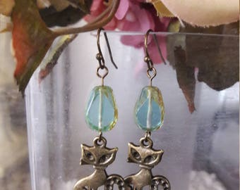 Cat and Teardrop Dangle Earrings
