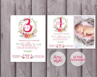 Floral Birthday Invitation, First Birthday Invite, Spring birthday invitations,birthday invite, girl birthday, girl birthday invite, flower
