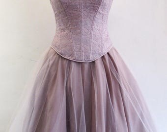 Pale lilac lace corset and matching tulle skirt