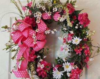 Pink Polka Dot Wreath, Pink Summer Wreath, Summer Grapevine Wreath, Door Wreath, Pink Flowers, Polka Dot Ribbon, Front Door Decor