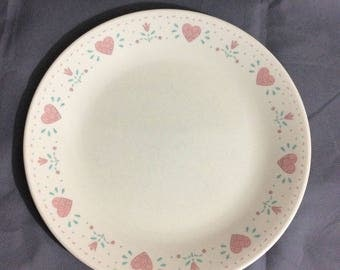 "Vintage Corelle by Corning Forever Yours Dinner Plate Pink Heart Theme 10 1/4"" diameter"