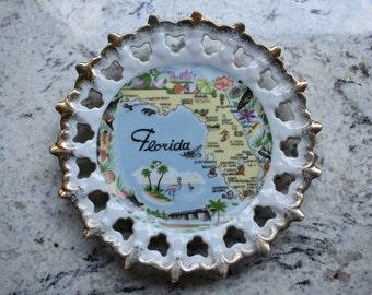 Retro Vintage Visit Florida Landmarks Plate