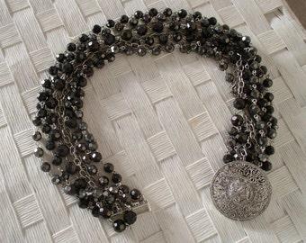 Nine Strand Dark Gray Crystal Necklace - 5 Crystal, 4 Silver Chain