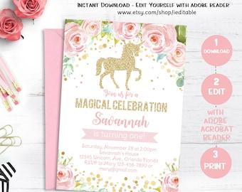 Unicorn Birthday Invitation, Magical Unicorn invite, Floral Unicorn, Pink Gold Face Unicorn, Editable invitation, Template Instant Download