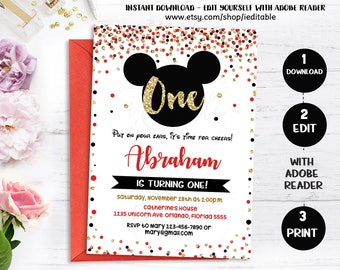 Mickey invitation, 1st birthday Red Gold Black Mickey Mouse invitate, First Birthday, Boys, Gold Glitter Polka Dot Printable Intant download