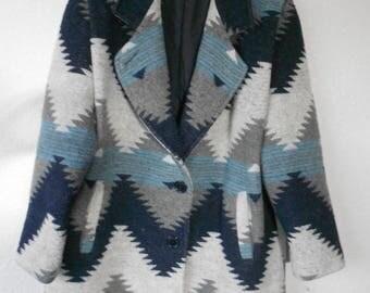 Herman Kay women's wool coat Aztec pattern blue gray beige/wool coat with Aztec theme/Aztec theme wool coat by Herman Kay/size 10